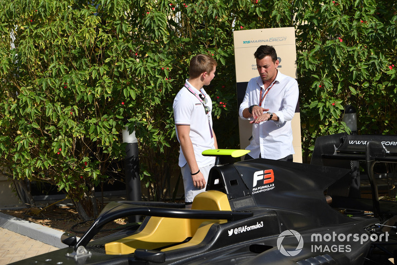 Billy Monger and Will Buxton, FOM TV Presenter looking at the new F3 GP3 Series