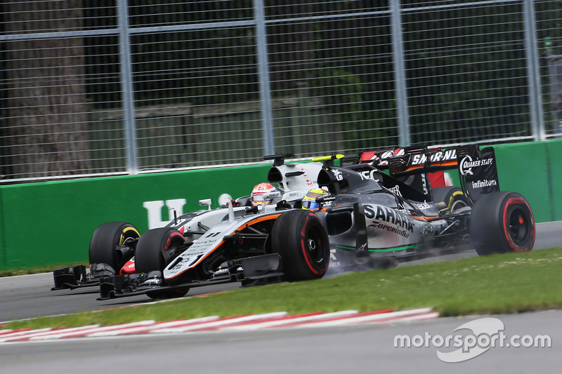 Серхіо Перес, Sahara Force India F1 VJM09 иа Ромен Грожан, Haas F1 Team VF-16 боротьба за позицію