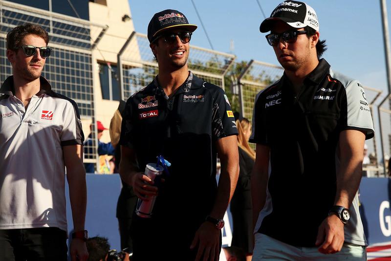 Серхио Перес, Sahara Force India F1, Даниэль Риккардо, Red Bull Racing и Ромен Грожан, Haas F1 Team