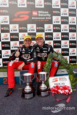 Podium: race winners Garth Tander and Warren Luff, Holden Racing Team