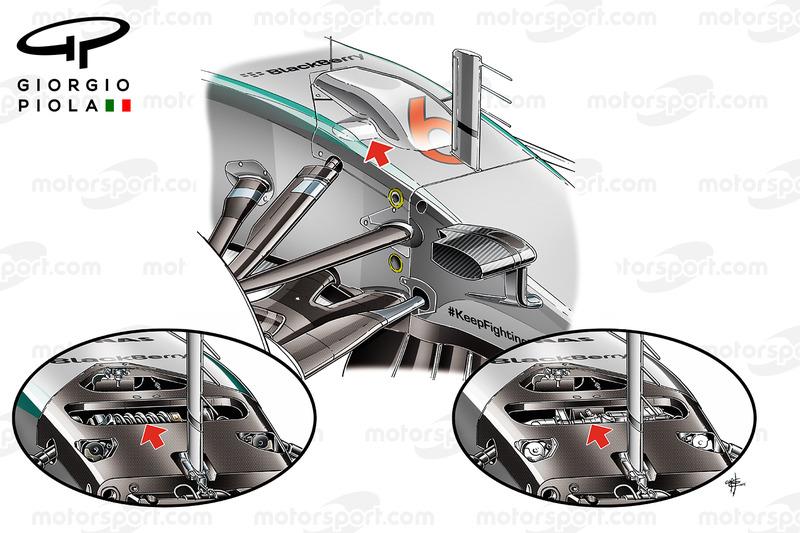 Partes hidráulicas de la suspensión delantera del Mercedes W06