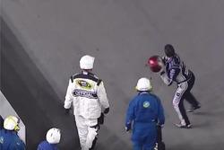 Tony Stewart throws helmet