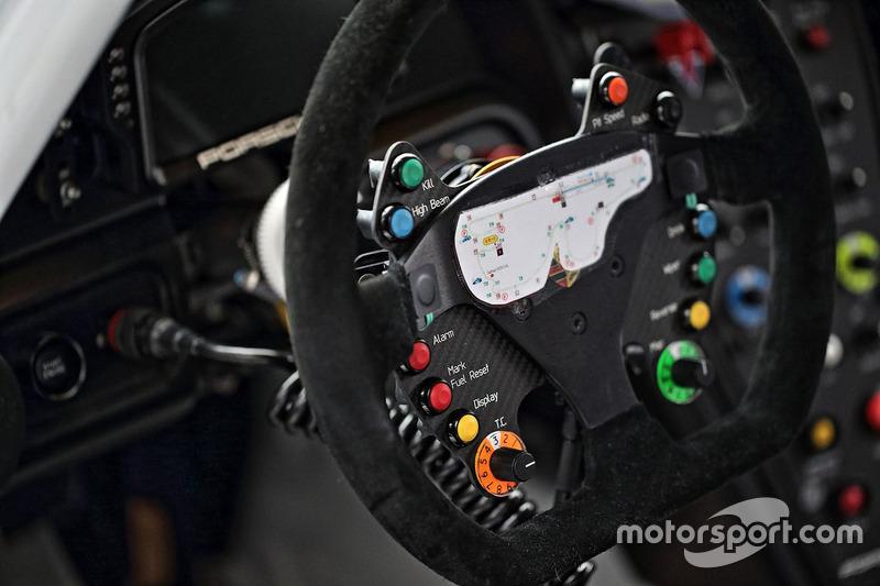 #33 Excellence Porsche Team KTR Porsche 911 GT3-R steering wheel detail at Fuji