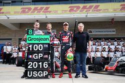 Guenther Steiner, Haas F1 Takım Patronu; Romain Grosjean, Haas F1 Team; Esteban Gutierrez, Haas F1 T