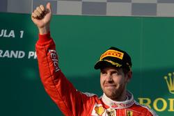 Podium : le troisième Sebastian Vettel, Ferrari