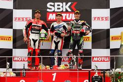 Podium: race winner Nicky Hayden, Honda WSBK Team, second place Davide Giugliano, Ducati Team, third