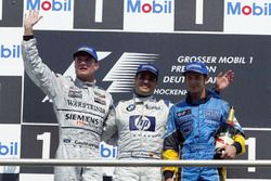 Podium: David Coulthard, McLaren Mercedes; Juan-Pablo Montoya, BMW Williams; Jarno Trulli, Renault F
