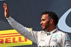 Podium: winner Lewis Hamilton, Mercedes AMG F1 Team