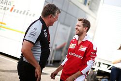 Otmar Szafnauer, Sahara Force India F1 Chief Operating Officer with Sebastian Vettel, Ferrari