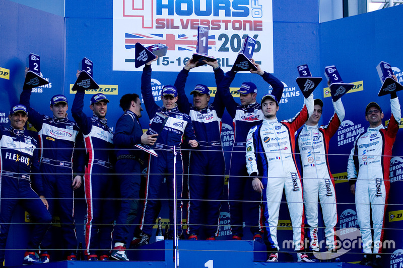 LMP3 podium: first place, Alex Brundle, Mike Guasch, Christian England, United Autosports, second pl