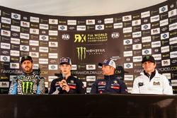 Ken Block, Hoonigan Racing Division Ford, Timmy Hansen, Team Peugeot Hansen, Sébastien Loeb, Team Peugeot Hansen, et Petter Solberg, PSRX Citroën DS3 RX