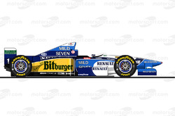 La Benetton B195 pilotée par Michael Schumacher en 1995<br/> Reproduction interdite, exclusivité Mot