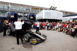 The new F2 car is unveiled by Ross Brawn and Charlie Whiting