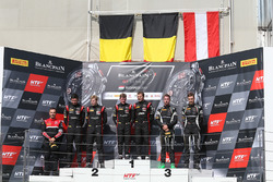 Podium: winners Marcel Fassler, Dries Vanthoor, Belgian Audi Club Team WRT, second place Jake Dennis, Pieter Schothorst, Team WRT, third place Christian Engelhart, Mirko Bortolotti, GRT Grasser Racing Team