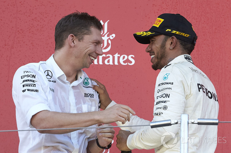 James Vowles, Chief Strategist, Mercedes AMG F1, Race winner Lewis Hamilton, Mercedes AMG F1, on the