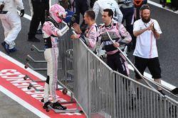 Esteban Ocon, Sahara Force India F1 celebrates in parc ferme