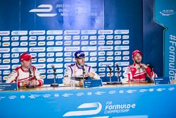 Winner Sam Bird, DS Virgin Racing, in the Press Conference with Felix Rosenqvist, Mahindra Racing, a