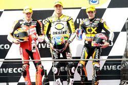 Podium : deuxième place pour Stefan Bradl, victoire pour Alex De Angelis, troisième place pour Marc Marquez