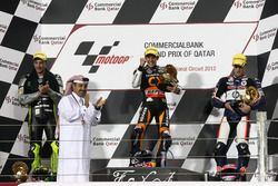 Podium: second place Andrea Iannone, Race winner Marc Marquez, third place Pol Espargaro