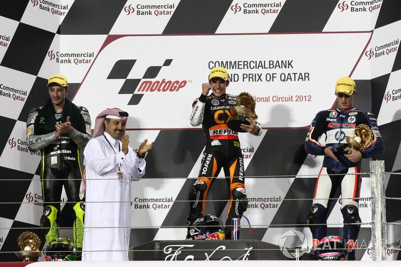 Le podium du GP du Qatar 2012 de Moto2 : Marc Márquez, Andrea Iannone, Pol Espargaró
