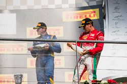Podium: race winner Charles Leclerc, PREMA Powerteam, second place Artem Markelov, RUSSIAN TIME, third place Oliver Rowland, DAMS