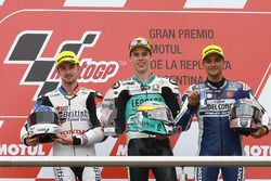 Podium: second place John McPhee, British Talent Team, race winner Joan Mir, Leopard Racing, third p