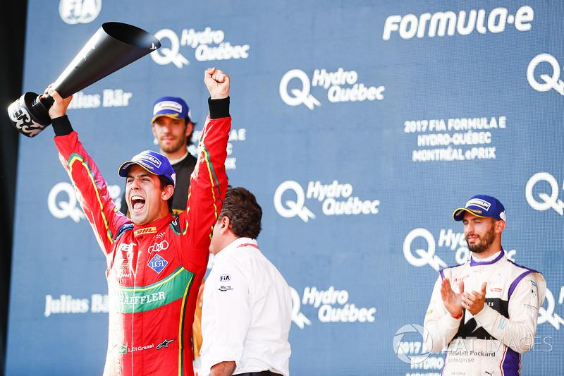 O piloto brasileiro venceu a primeira corrida do ePrix de Montreal para assegurar o título, à frente do rival Buemi