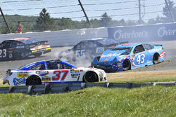 Chris Buescher, JTG Daugherty Racing Chevrolet, Aric Almirola, Richard Petty Motorsports Ford, crash