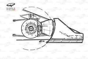 Williams FW11 1986, estremità dell'ala anteriore e dettaglio del freno