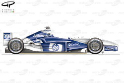 Vue latérale de la Williams FW25B (testée à Barcelone)