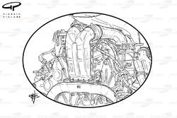 L'unité de puissance Ferrari 059/3, avec un focus sur le refroidisseur de charge coincé entre les cylindres