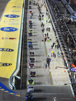 The cars drive off pit road