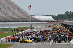 The starting grid during the National Anthem