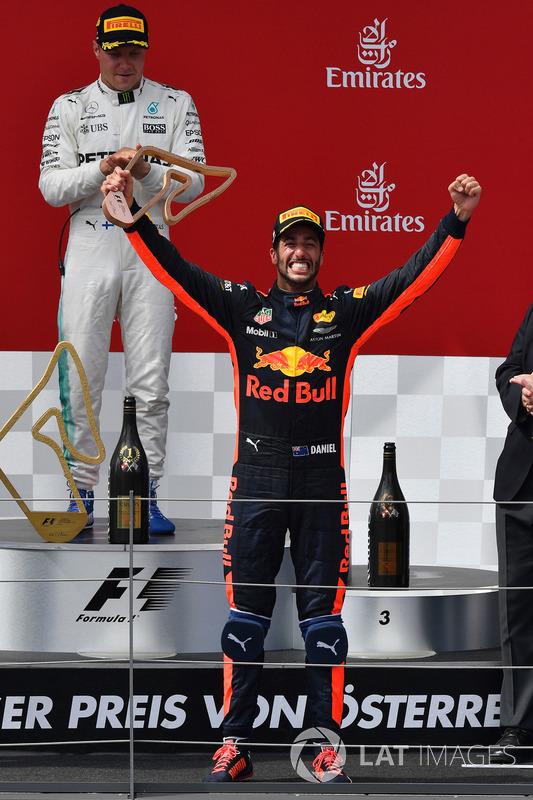 Даніель Ріккардо, Red Bull Racing, святкує своє третє місце на подіумі