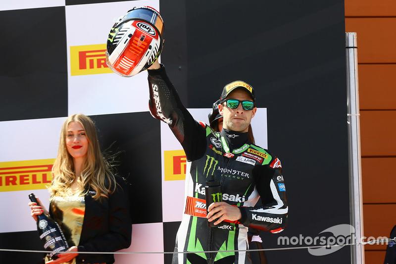 Podio: il vincitore Jonathan Rea, Kawasaki Racing