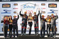 Podium ST: winners #17 RS1 Porsche Cayman: Nick Galante, Spencer Pumpelly, second place #44 CRG-I Do Borrow Nissan Altima Coupe: Sarah Cattaneo, Owen Trinkler, third place #56 Murillo Racing Porsche Cayman: Jeff Mosing, Eric Foss