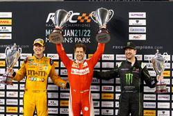 Podium Nations cup: Race winner Sebastian Vettel; second place Team USA-NASCAR with Kyle Busch and Kurt Busch