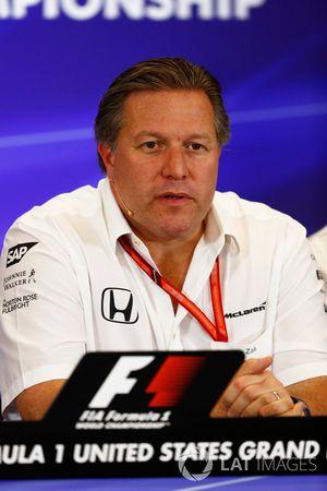 Zak Brown, directeur exécutif, McLaren Technology Group, lors de la conférence de presse