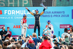 Jean-Eric Vergne, Techeetah, wins the Paris ePrix, Lucas di Grassi, Audi Sport ABT Schaeffler, finishes 2nd, Sam Bird, DS Virgin Racing, in 3rd