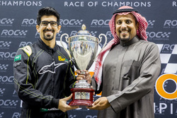 Ahmed Bin Khanen is presented with a trophy by Prince Khaled Al Faisal, President of the Motor Federation Of Saudi Arabia after winning ROC Factor Saudi Arabia