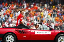 Kimi Raikkonen, Ferrari, in the drivers parade