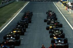 The cars line up for the start of the race