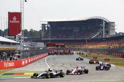 Lewis Hamilton, Mercedes AMG F1 W09, leads Esteban Ocon, Force India VJM11,