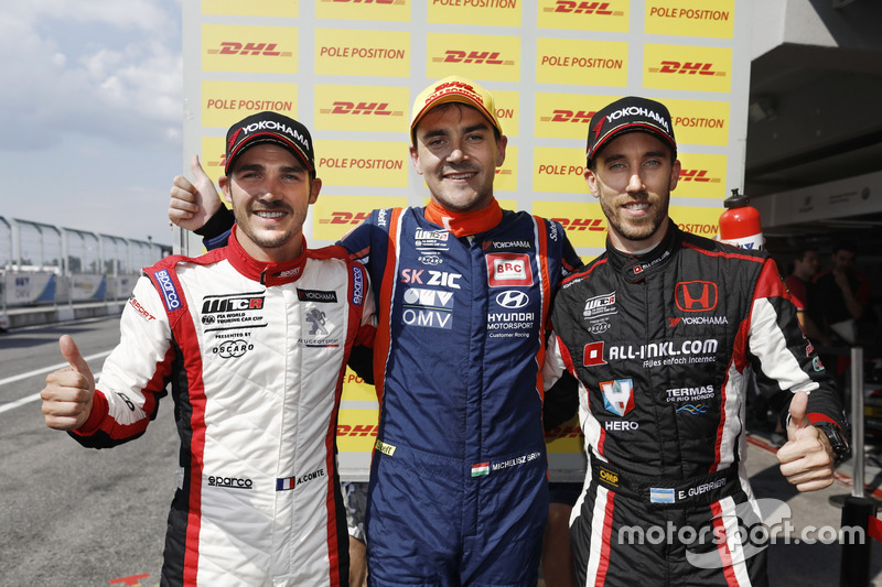 Top 3 Qualifiche 2: Pole position per Norbert Michelisz, BRC Racing Team Hyundai i30 N TCR, il secondo classificato Aurélien Comte, DG Sport Competition Peugeot 308TCR, Esteban Guerrieri, ALL-INKL.COM Münnich Motorsport Honda Civic Type R TCR