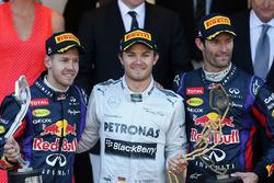 Podium: race winner Nico Rosberg, Mercedes AMG F1, second place Sebastian Vettel, Red Bull Racing, t
