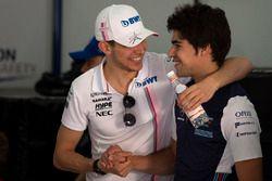 Esteban Ocon, Force India F1 e Lance Stroll, Williams nella drivers parade