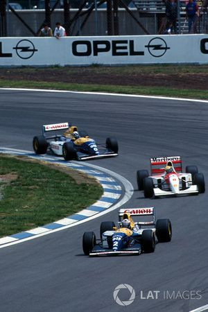 Alain Prost, Williams FW15C; Ayrton Senna, McLaren MP4/8; Damon Hill, Williams FW15C