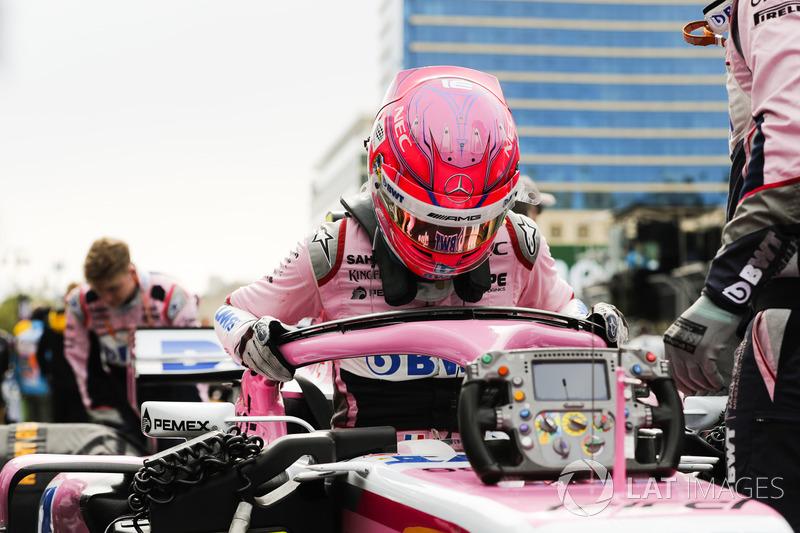 Esteban Ocon, Force India, in griglia