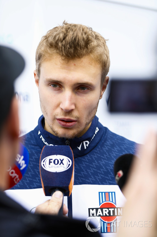 Sergey Sirotkin, Williams Racing, is interviewed by the media