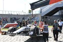The crashed car of Marcus Ericsson, Sauber C37